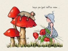 Instant, Printable Get Well Card, Mouse Sleeping on Toadstool, Little Girl with Big Poppies, Commercial Use Art, Instant Download, You Print