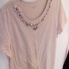 Oatmeal color top with  beading , very pretty Top with beading, short sleeve, oatmeal color, with pretty beading Laura scott Tops Tank Tops