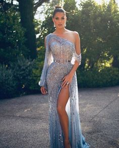 Miss Universe France kills this gorgeous sheer blue beaded side slit gown for This look is stunning. 2 dernières pour la route 🙈 Still obsessed with this look ! Thanks to my amazing team ✨ Toutes les infos taguées sur la photo 😁 Glam Dresses, Elegant Dresses, Pretty Dresses, Sexy Dresses, Evening Dresses, Fashion Dresses, Wedding Dresses, Long Dresses, Summer Dresses