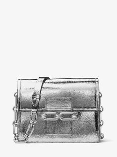 41ff49de69 Cate Medium Crackled Metallic Leather Shoulder Bag Nylon Bag