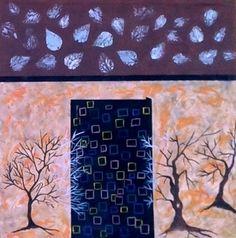 Pictura abstracta, acril pe panza 100x100 nr 29