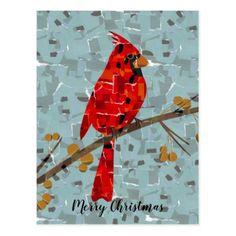 Red Cardinal Mosaic Postcard - Xmas ChristmasEve Christmas Eve Christmas merry xmas family kids gifts holidays Santa