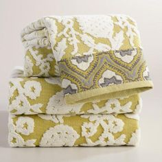 Moss and Ivory Thistle Sculpted Hand Towel   World Market