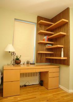 Corner bookshelf. I did mine with different materials but same concept.