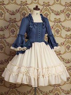 Lolita Fashion | Classical | VM Blue and cream ruffled Loki dress Check out the ...