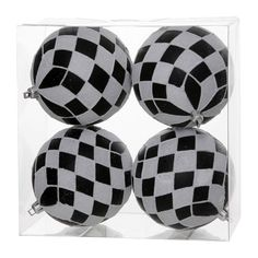 """Christmas Decorations - Add a POP of #Black/White to your #ChristmasTree this season. 4.7"""" Matte Glitter Diamond Ball - 4 pk."""