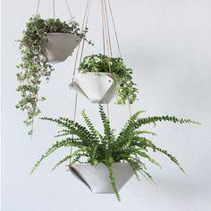 Fold Bowl Hanging Porcelain Planters by taylorceramics on Etsy Potted Plants, Indoor Plants, Indoor Gardening, Organic Gardening, Bowl Image, Origami, Cordon En Cuir, Forma Circular, Fleurs Diy