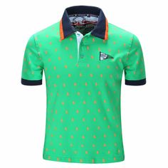 Mens Short Sleeve Cotton Pattern Loose Comfort Polo Shirts