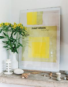 A Josef Albers poster with flowers - Margaret Howell's home