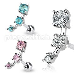 Pierced Fish Category > Body Jewelry > By EAR > Tragus Cartilage > JA10986::Triple CZ Droplet Tragus/Cartilage Piercing Stud