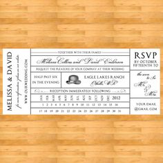 Vintage Train Ticket Wedding Invitation