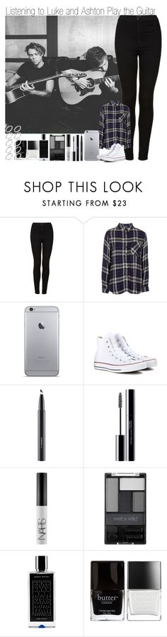 """Listening to Luke and Ashton Play the Guitar"" by elise-22 ❤ liked on Polyvore featuring Topshop, Converse, MAC Cosmetics, shu uemura, NARS Cosmetics, Wet n Wild, Agonist, Butter London and ASOS"