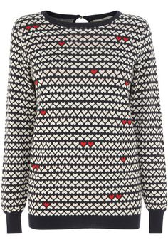 Fall head over heels in love with this adorable heart print knitted jumper. #LovedByMollie