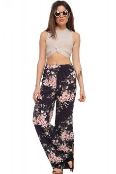 Black Floral Printed Elastic Waist Wide Legs Pants #Black #Pants #maykool