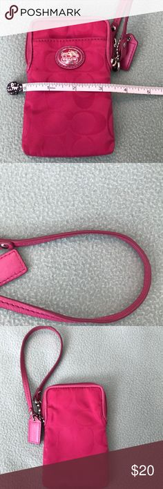 Hot pink wristlet Hot pink wristlet with no noticeable signs of wear. Coach Bags Clutches & Wristlets