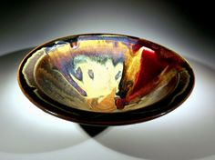 Crystalline Red and Amber Bowl by greg johnson porcelain