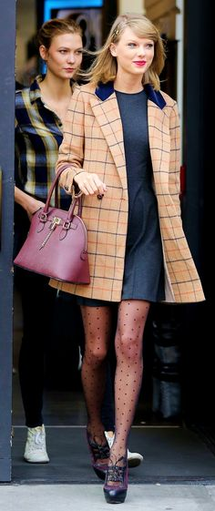 Taylor Swift ; Out shopping with Karlie Kloss, New York, November 2014 ; Miss Patina coat, Christian Louboutin heels, Aldo bag & Acca headband