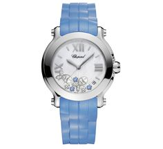 Chopards My Happy Sport Bespoke Passion watch with baby blue alligator strap.