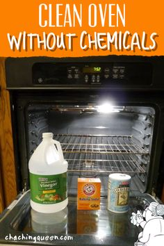 Easy step-by-step tutorial on how to your clean oven with vinegar and baking soda using homemade natural cleaners to clean your oven racks, door glass, self-cleaning ovens. Deep Cleaning Tips, Green Cleaning, House Cleaning Tips, Natural Cleaning Products, Cleaning Solutions, Spring Cleaning, Natural Products, Cleaning Oven Racks, Toilet Cleaning
