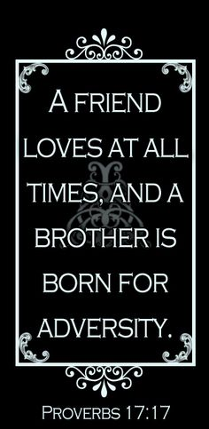 A friend loves at all times and a brother is born for adversity. True Friends, Friends In Love, Proverbs 17 17, A Brother, Favorite Bible Verses, Friend Loves, Words, Quotes, Times
