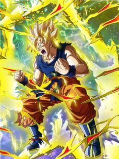[Threshold of Rage] Super Saiyan Goku/Dragon Ball Z: Dokkan Battle (Fake) Dragon Ball Gt, Z Warriors, Manga Dragon, Goku Super, Joker Art, Fan Art, King Kong, Anime Art, Artwork
