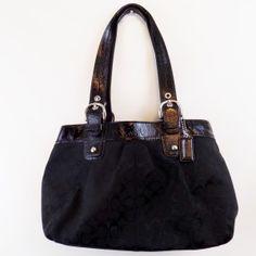 COACH F13742 Tote/Shopper, Black Canvas & Leather  $75.00
