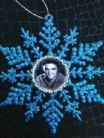 Blue Elvis Christmas ornament