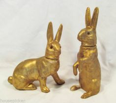 Pair Antique German Gold Gilt Paper Mache Bunny Rabbit Candy Containers | eBay