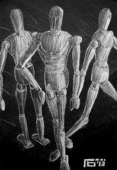 white charcoal manikin drawing on black paper
