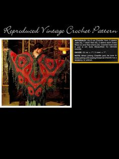 Vintage 70's Crochet Butterfly Shawl PDF Pattern by KinzieWoolShop