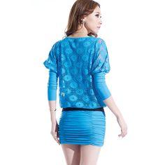 Tienda Simulado 2 piezas Mini vestido de encaje Floral pura Overlay Blusa plisada falda de un solo paso En línea - Bridgat.com