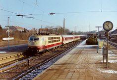 1996 Buchholz in der Nordheide - 103 236 mit IC 729  Regensburger Domspatzen  (Hamburg–Köln–Passau) am 30.01.1996 in Buchholz (Nordheide) ☺