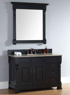 Abstron 48 inch Black Finish Single Traditional Bathroom Vanity Optional Top