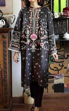 Lawn Suits, Cotton Suit, Famous Brands, Winter Dresses, Black Cotton, Sapphire, Kimono Top, Embroidery, Clothes