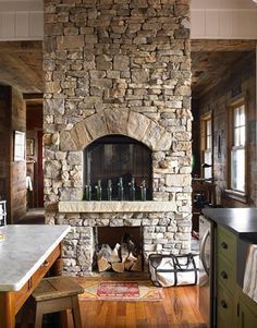 Stacked stone fireplace. ∘⚜∘Rustic Log Homes∘⚜∘ - Pinterest: Crackpot Baby 🍒
