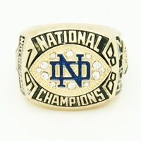 Bottom Price for 1988 Notre Dame National Collegiate Athletic Association University of Notre Dame Championship Ring for Fans