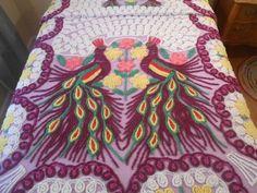 Vintage Purple PEACOCK Loops (12) Hearts (45) Flowers Chenille Bedspread