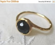 SALE Onyx ring, Gold filled ring, stacking ring, Delicate gemstone ring, Black ring, Classic dainty ring, Hammered ring, bridesmaid gift