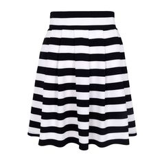 Elliatt - Eclipse stripe pleated skirt ($90) ❤ liked on Polyvore featuring skirts, bottoms, flared skirt, circle skirt, blue skirt, blue skater skirt and blue striped skirt