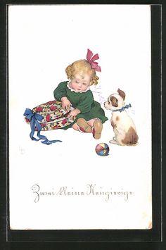 Künstler-AK Lia Döring: kleines Mädchen öffnet ein Geschenk, Hund 0
