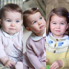 Princess Charlotte in 2015 (baby), 2016 (1 year old) en 2017 (toddler at 2 years)