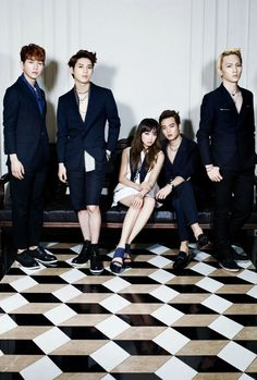 SHINee Onew, Taemin, Minho, and Key with f(x) Victoria | High Cut magazine May 2013 issue.