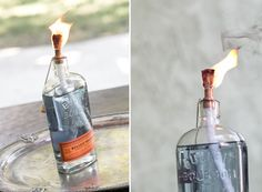 """In honor of all the Labor Day BBQs that are going down this weekend, we've created DIY tiki torches out of classic American liquor bottles. I originally spotted this idea at my friend Todd's fiesta party and being the party enthusiast I am, it was a """"tell me how you did that right now or...readmore"""