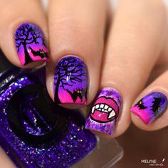 Nail art Chica Vampiro - vampire et chauve-souris pour Halloween et vidéo tuto