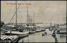 Vestfold fylke Larvik Ved Farriselvens udløb med kaianlæg brukt 1919