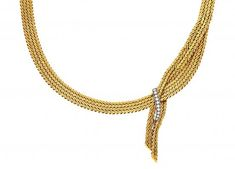 Choker in gold and diamonds, circa 1960  Gold and white gold and brilliant - cut diamonds, 0.27 cts. 42 cm 66.2 gr
