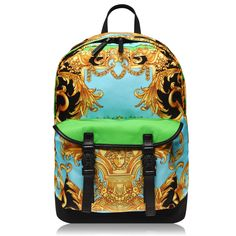 Buy your VERSACE - Versace Barroco Nylon Backpack from Urban Garmz and find other great designer menswear brands with discounts up to off. No discount codes needed for our collection of men's fashion clothing! Chevron Backpacks, Mens Designer Accessories, Shark Logo, Eagle Print, Men's Fashion Brands, Billfold Wallet, Versace Jeans Couture, Back Strap, Mens Clothing Styles