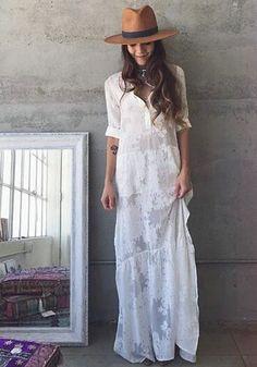 Vestido Longo Bordado Branco