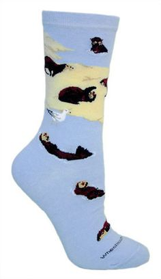 You otter get these socks! Sea otters lounge and swim in light blue water. Fits a women's shoe size 6-8.5.