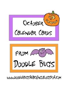 Enjoy this set of fun October Calendar Cards. Can also be used as counting cards for the little ones! Visit my blog at www.doodlebugsteaching...